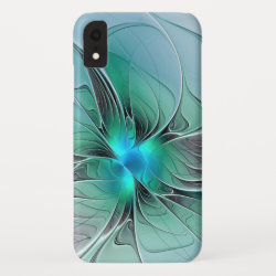 Abstract With Blue, Modern Fractal Art iPhone XR Case