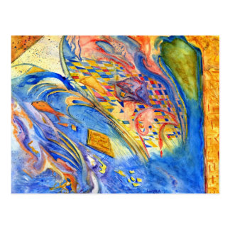 Abstract with Fish Against the Stream Postcard