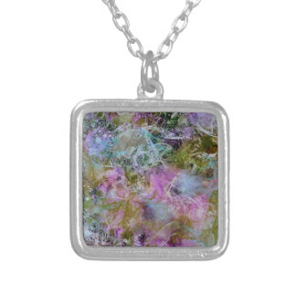 Abstract with swirling soft pastel colors silver plated necklace