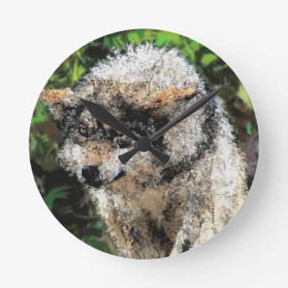 Abstract wolf painting round clock