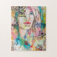 Abstract Woman Butterfly Flowers Colorful Artistic Jigsaw Puzzle