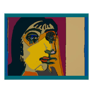 Abstract Woman Face Poster