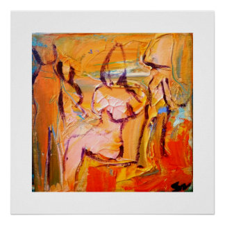 Abstract woman in chair poster