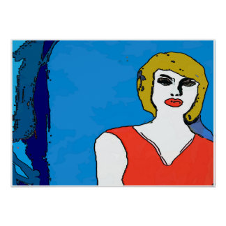 Abstract Woman in Red Poster