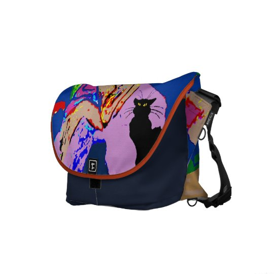 Abstract Woman with Black Cat Courier Bag
