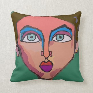 Abstract Woman's Face Throw Pillow