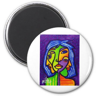 Abstract Women J 3 by Piliero 2 Inch Round Magnet