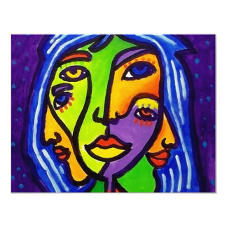 Abstract Women J 3 by Piliero 4.25x5.5 Paper Invitation Card