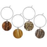 Abstract Wooden Photos (Cedar, Pine, Tree Bark) Wine Glass Charm