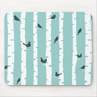 Abstract Woods And Birds-Blue White And Black Mouse Pad