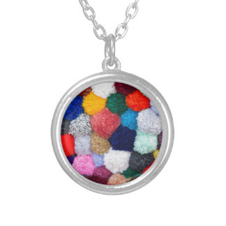 abstract wool background silver plated necklace