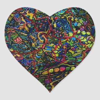 Abstract Worlds Delicate Balance Heart Sticker