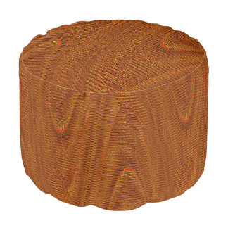 Abstract Woven Threads, Ant. Gold-Round Pouf Seat