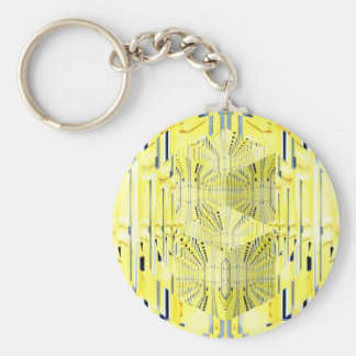 Abstract Yellow 3d Cubes Keychain
