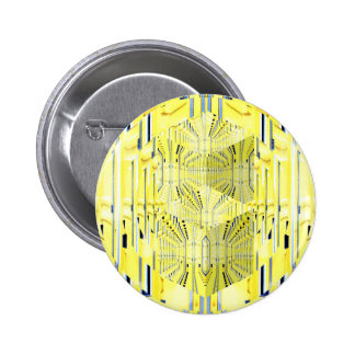 Abstract Yellow 3d Cubes Pinback Button