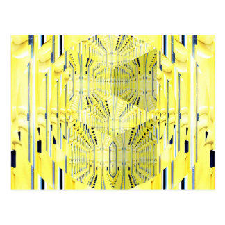 Abstract Yellow 3d Cubes Postcard
