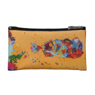 Abstract Yellow African Woman Bag Cosmetic Bags