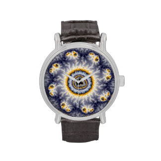 Abstract yellow and blue flower watch
