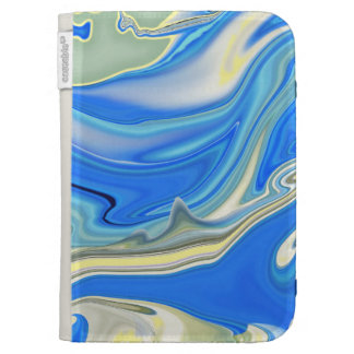 Abstract Yellow and Blue River Delta Kindle Folio Kindle Case