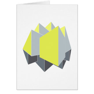 Abstract yellow and gray blocks in perspective card