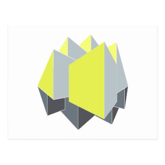 Abstract yellow and gray blocks in perspective postcard