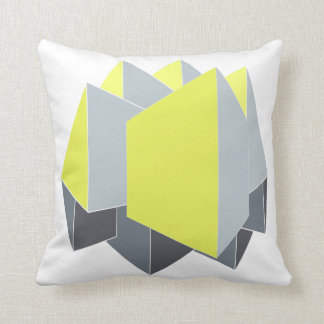 Abstract yellow and gray blocks in perspective throw pillow