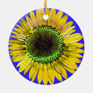 Abstract Yellow Autumn Beauty Sunflower on Blue Christmas Ornaments