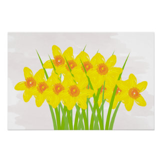 Abstract Yellow Daffodils Watercolor Art Poster