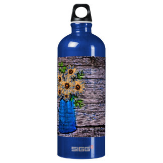 abstract yellow flowers in blue water picture aluminum water bottle