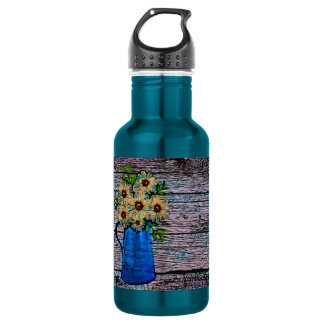 abstract yellow flowers in blue water picture stainless steel water bottle