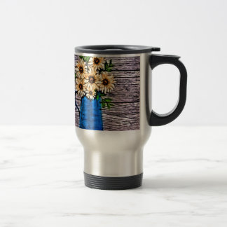 abstract yellow flowers in blue water picture travel mug