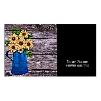 abstract yellow flowers in blue water pitcher business card