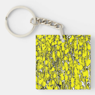 Abstract Yellow Flowers Keychain