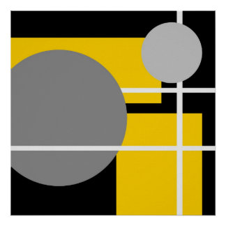 Abstract Yellow Gray Black White AP0001 Poster