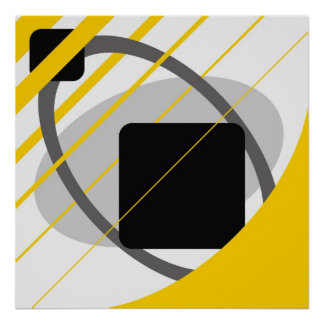 Abstract Yellow Gray Off-White Black AP0002 Poster