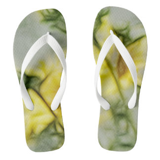 Abstract Yellow & Green Wildflower Flip Flops