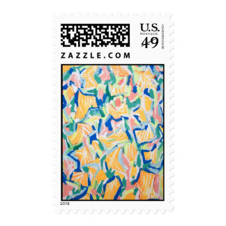 Abstract Yellow Morning Glories (abstract flower) Postage Stamp