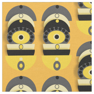 Abstract yellow oval shapes fabric