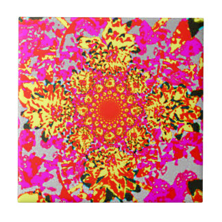 Abstract Yellow Pink  Floral Dahlia Flower Pattern Ceramic Tile