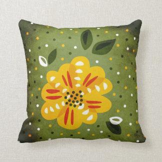 Abstract Yellow Primrose Flower Throw Pillow
