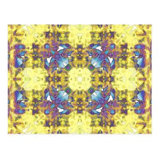 Abstract Yellow Purple Mandala Postcard
