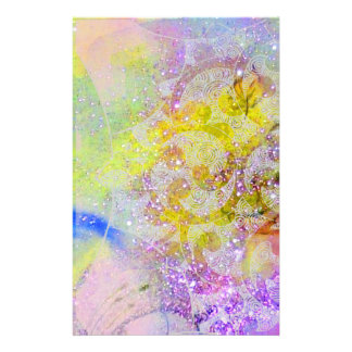 ABSTRACT YELLOW PURPLE WAVES ,FLORAL SWIRLS STATIONERY