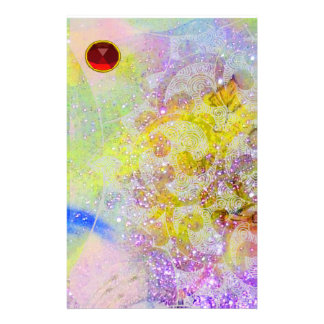 ABSTRACT YELLOW PURPLE WAVES ,SWIRLS AND RED RUBY STATIONERY