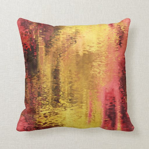Abstract yellow red reflection pillow