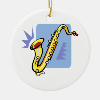 Abstract yellow sax blue background facing left ceramic ornament