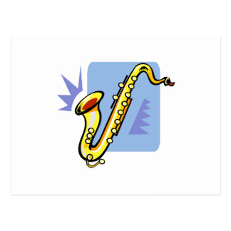 Abstract yellow sax blue background facing left postcard