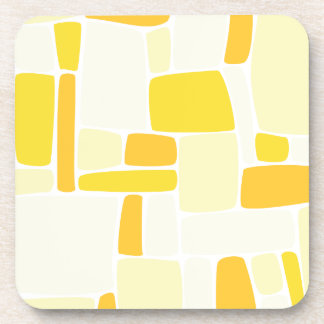Abstract Yellow Squares Beverage Coaster