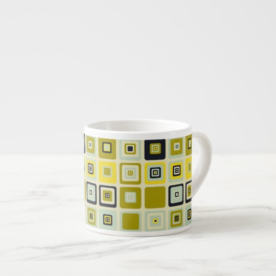 Abstract Yellow Squares Pattern Espresso Cup