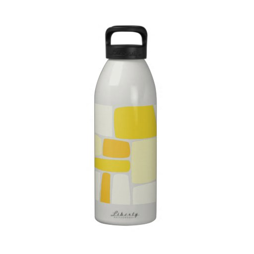 Abstract Yellow Squares Reusable Water Bottle
