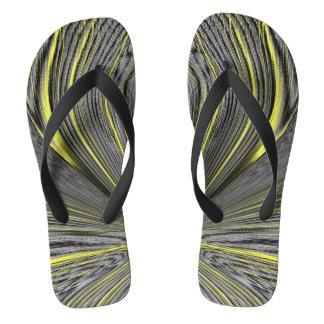 Abstract Yellow Warp Flip Flops